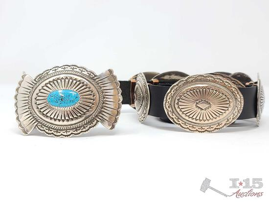 MAGNIFICENT VINTAGE NATIVE AMERICAN NAVAJO OLD KINGMAN TURQUOISE STERLING SILVER CONCHO BELT