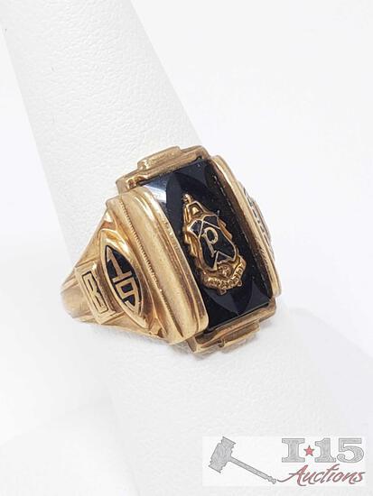 10k Black and Gold Josten Ring 8.8g