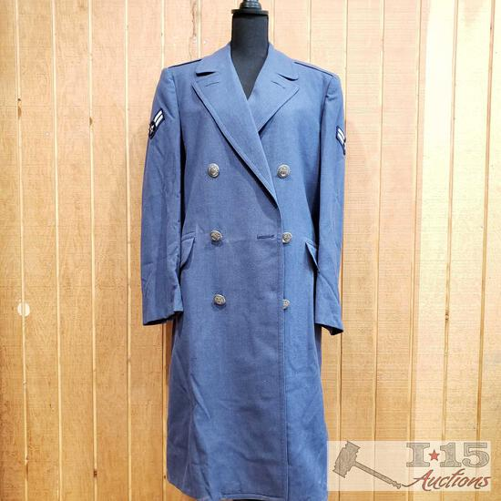 Vintage US Air Force Men's Trench Coat with Senior Airman Patches