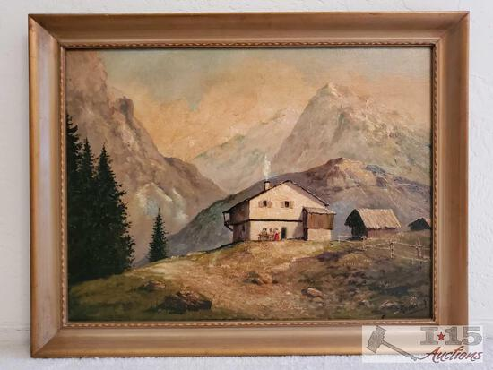 Framed Canvas Painting-Signed