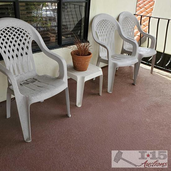 3 White Plastic Chairs, End Table and Pottery