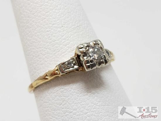 14k Gold Diamond Ring, 1.4g