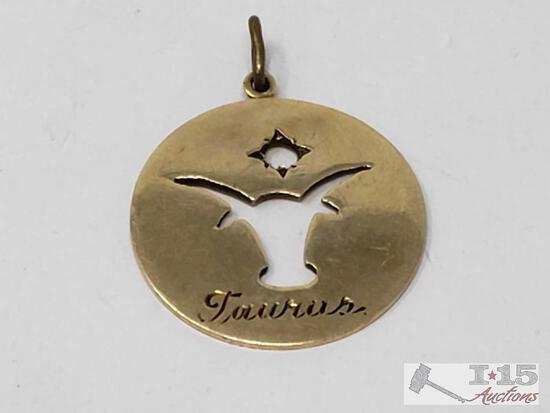 14k Gold Taurus Pendant, 4.7g