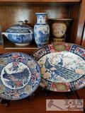 2 Decorative Plates, 2 Vases and Punch Bowl