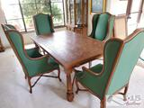 Wooden Dining Room Table with 4 Chairs and 2 Leaves