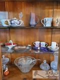 Tea Pots, Tea Cups, Glass Punch Bowl, Pitcher, Candy Dish and more