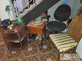 2 End Tables, Office Chair and Wooden Chair