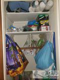 Closet full of plastic utensils reusable bags and more!