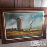 Vintage Oil Panting with Frame by Everett Woodson