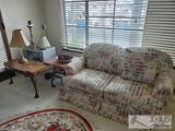 Love Seat, 2 End Tables, Coffee Table and 3 Lamps