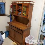 Wooden Hutch with Cabinets and Drawer