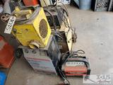 4 battery chargers and blower