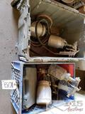 4 Paint Sprayers with Crates and Plastic Boxes