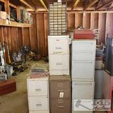 5 filing cabinets with various tools and more