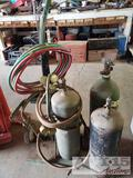 Oxy and Acetylene Tanks with Dolly and Hoses