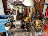 2 Bench Grinders, Drill Press, Bench, Sockets, and Other Misc Tools