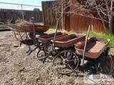 3 wagons, 2 wheelbarrows, 2 steel wheels