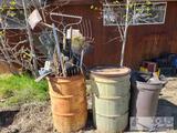 Yard Tools, 55 gal. Barrels, plastic trash can