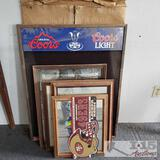 Various Beer mirrors, boards, posters, and more