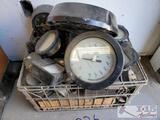gauges and metal crate