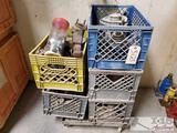 5 Milk crates with Misc. Auto Parts