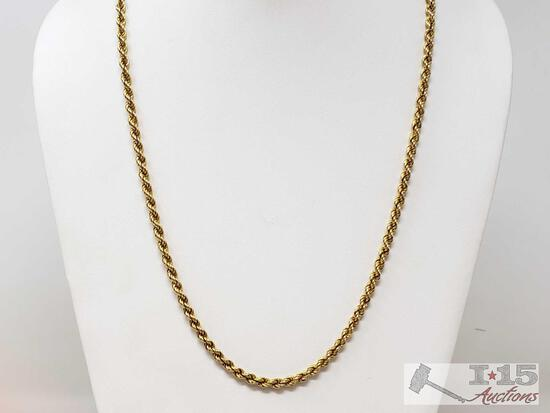 18k Gold Rope Chain, 17.9g