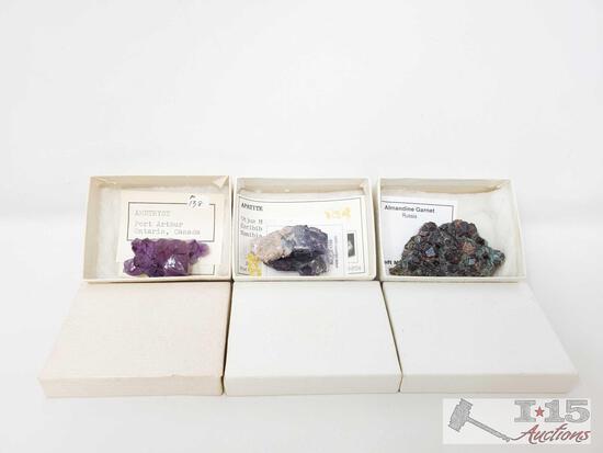 3 Gemstones, Amethyst, Almandine Garnet, And Apatite.