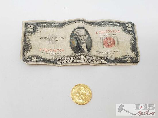 Series 1953 B, 2 Dollar Bill And Nebraska State Quarter