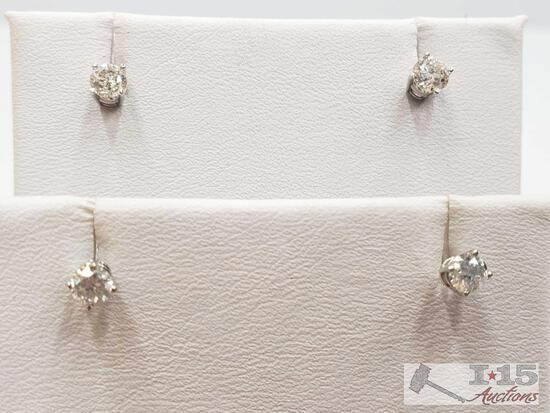 14k Gold Diamond Earrings 2 pairs