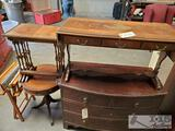 Wooden Dresser, Tables, Fold Out Chair