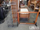 2 Metal Decorative Stands, and Pet Gate