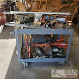 Metal Cart With Misc. Tools and Automotive Parts