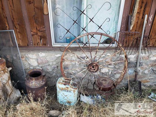 "Just Added! 45"" Wagon Wheel, Jerry Can, Milk Can, Garden Tools, and More"