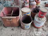 3 Vintage Oil Cans, Napa Carburetor Cleaner Can, and Metal Rolling Cart