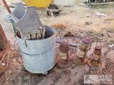 Metal Mop Bucket and 3 Lanterns