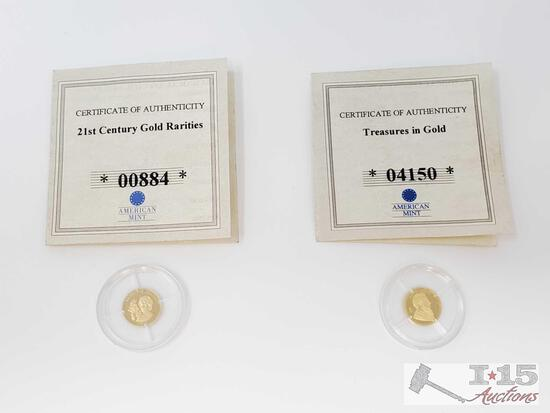 Treasures in Gold, and 21st Century Gold Rarities .585 Gold Coins