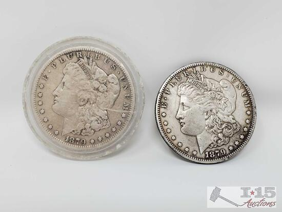 2 1879 Morgan Silver Dollars