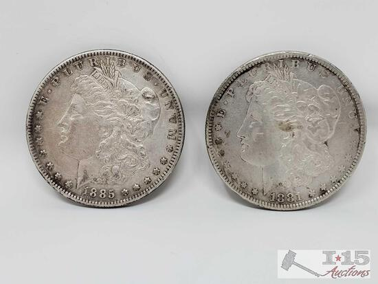 1885 and 1881 Morgan Silver Dollars