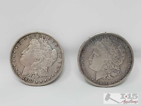 1900 and 1901-O Morgan Silver Dollars