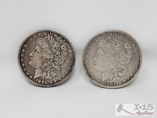1885 and 1884 Morgan Silver Dollars