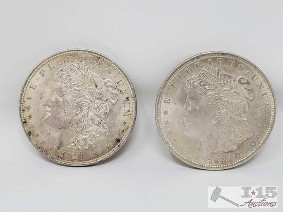 2 1921 Morgan Silver Dollars