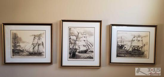 3 1979 Signed Famed Alan Jay Gaines Etchings