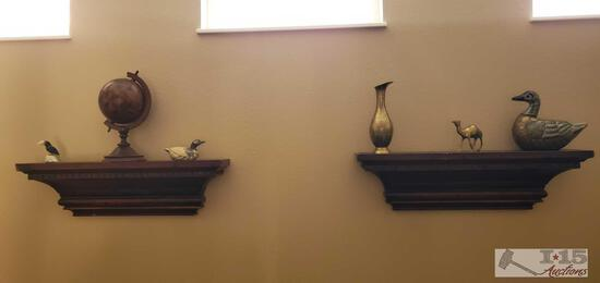 2 Floating Shelves, Brass Vase, Wooden Tabletop Globe, and Other Decor
