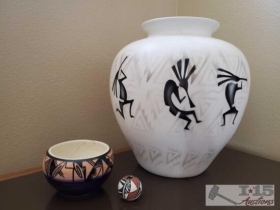 M Redhorse Navajo Shadow Pottery Vase and 2 Pieces of Navajo Pottery