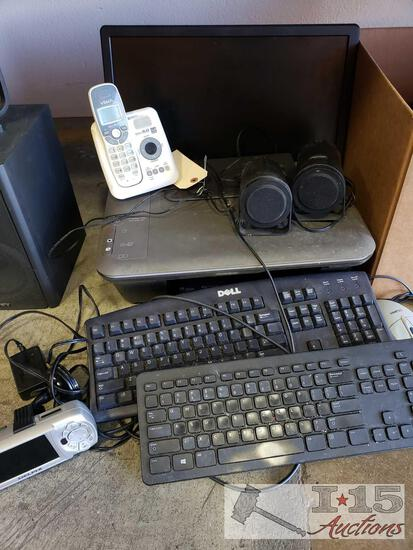 2 Dell Keyboards, HP Printer, Dell Monitor, Altec Speakers and More