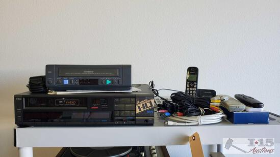 Gold Star VHS Player, NEC VHS recorder, Remotes, Cords and More