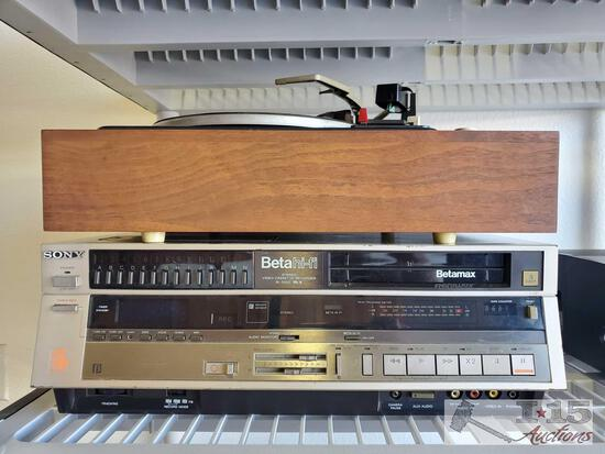 Sony Beta Hi-Fi Stereo Video Cassette Recorder and Garrara Record Player