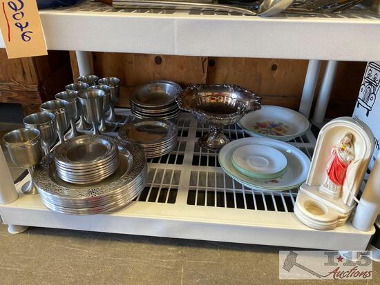 Pewter Set, Candle Holder and China