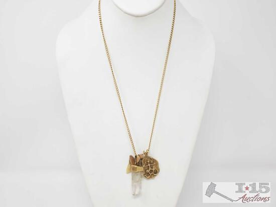 14k Gold Chain With 4 14k Gold Pendants- 38.8g