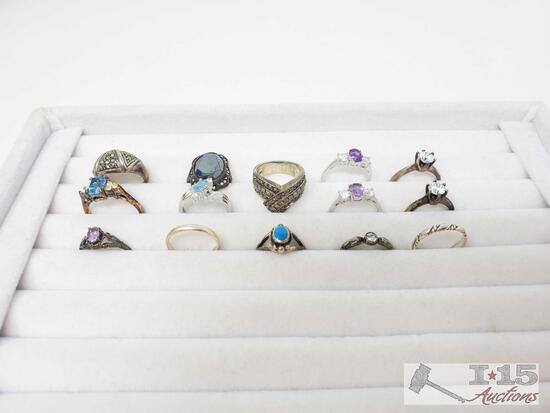 14 Sterling Silver Rings, 42.6g